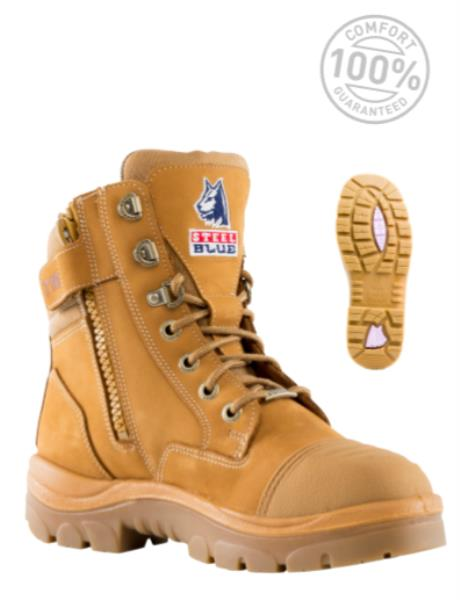 1405fc44 Details about Steel Blue Southern Cross Zip Scuff Ladies Safety Boots Steel  Cap 512719 WHEAT
