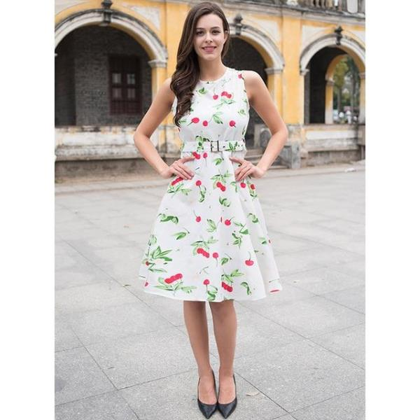 5af2cc62a17 Plus Size Vintage Women Party Dress Floral Print Sleeveless O-neck Sashes