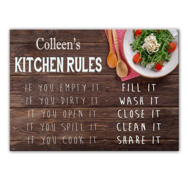 Colleen S Kitchen Rules Glass Cutting Board Worktop Saver Gift For Colleen Ebay