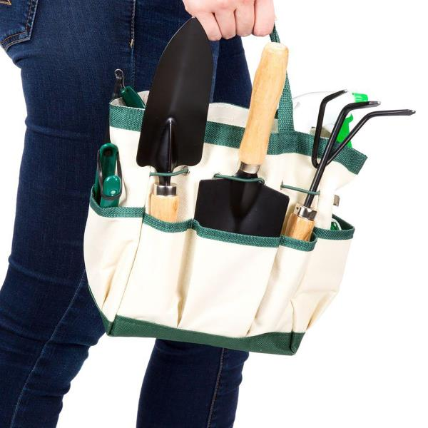 GARDEN TOOL AND TOTE SET 8.25 In Canvas Storage Bag Home Gardening Tools 8 PACK