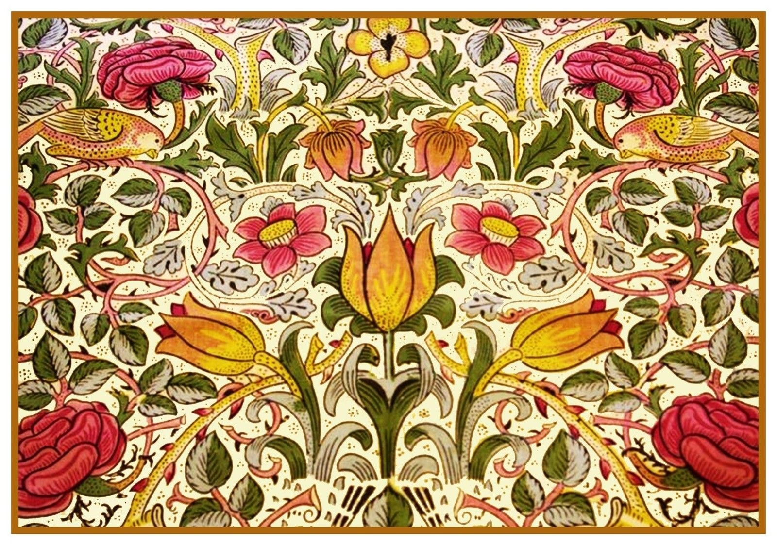 Arts /& Crafts William Morris Golden Lily Navy Counted Cross Stitch Chart Pattern