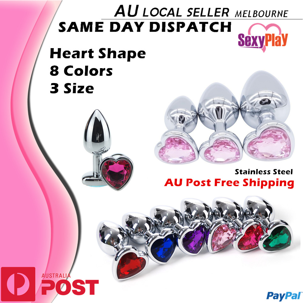 Stainless Steel Anal Plug Butt Plug Heart Shaped Bright -1174