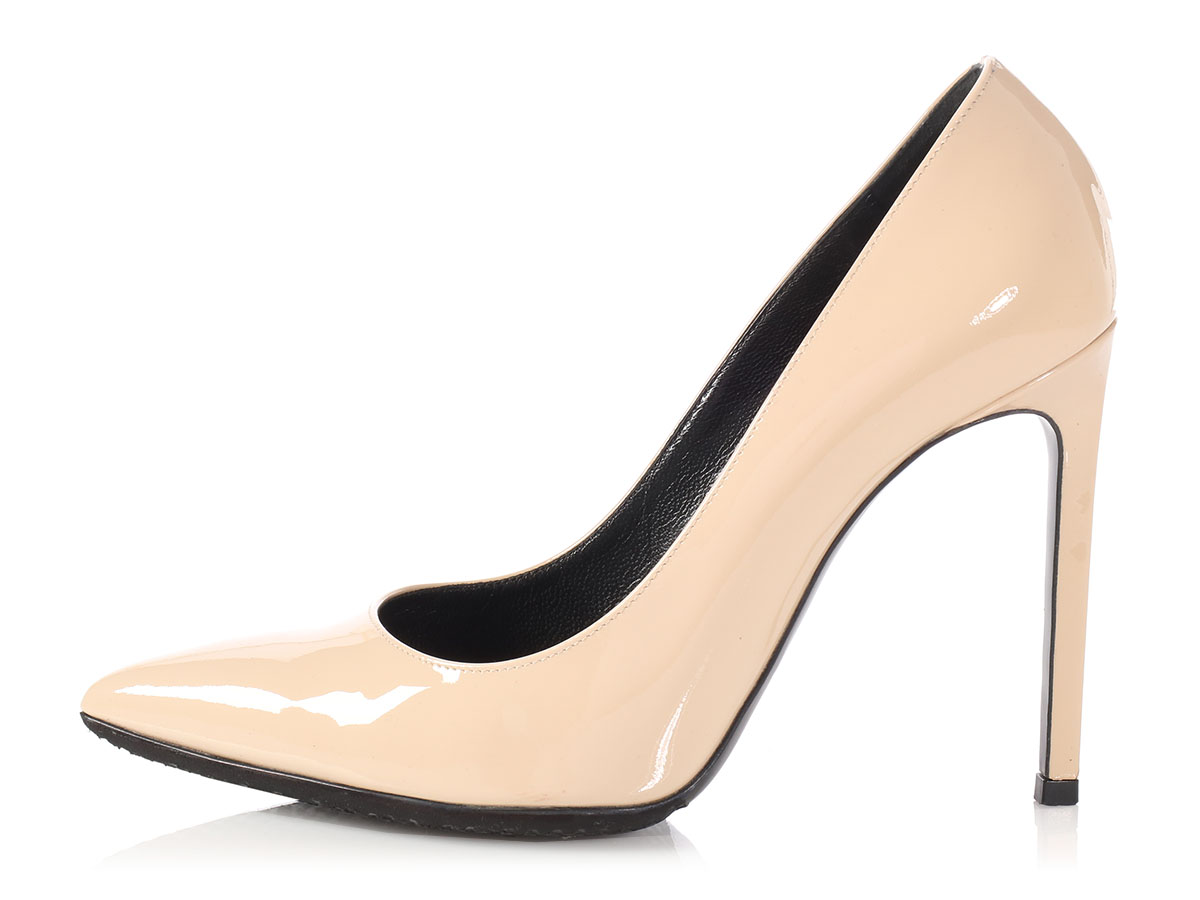 aed9fc8858f Details about SAINT LAURENT YSL Beige Patent Leather Pumps Heels size 37 7  ~ Chic   classic!