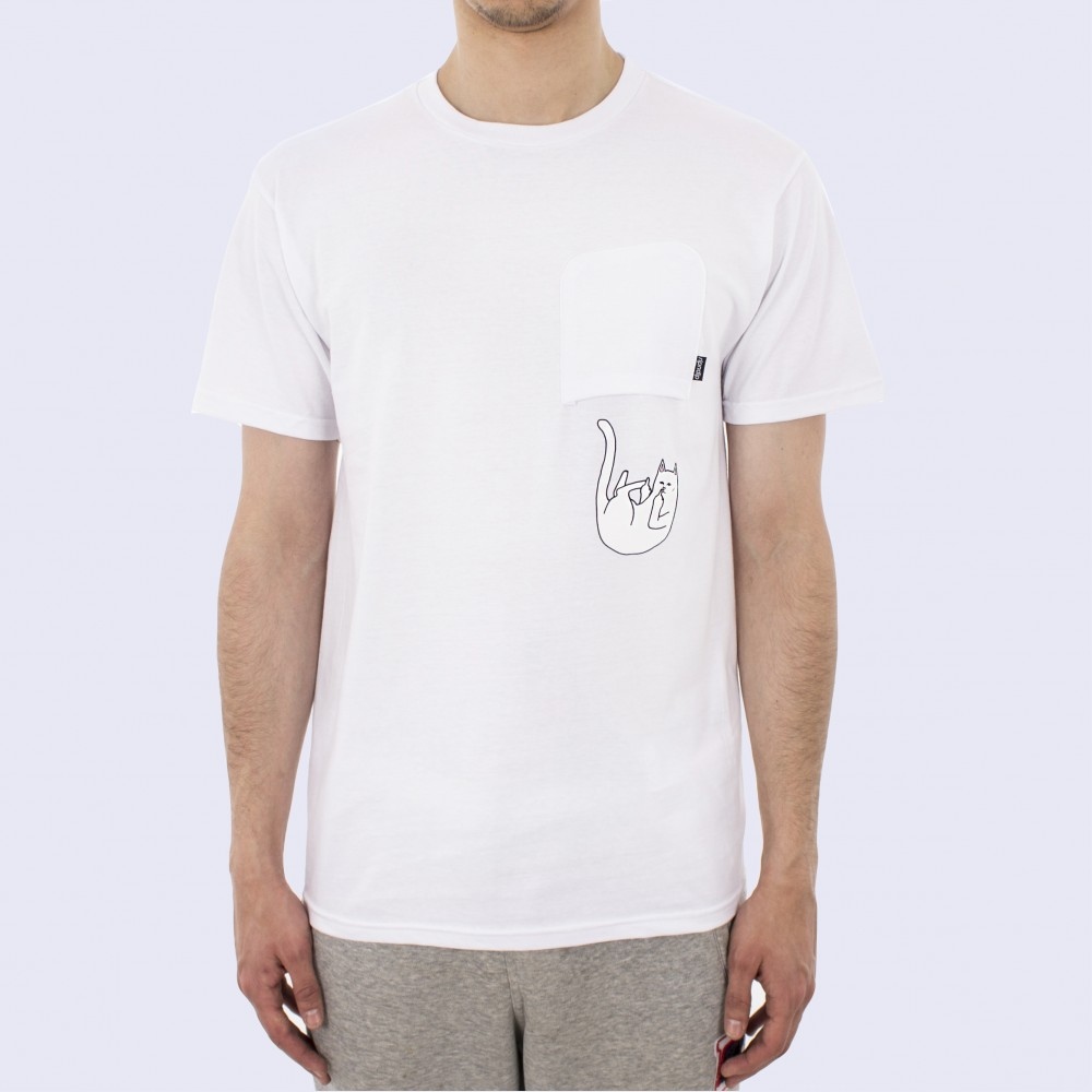 RipnDip Tee Falling For Nermal White Pocket Cat FREE POST Rip n dip feline Skateboard T-Shirt