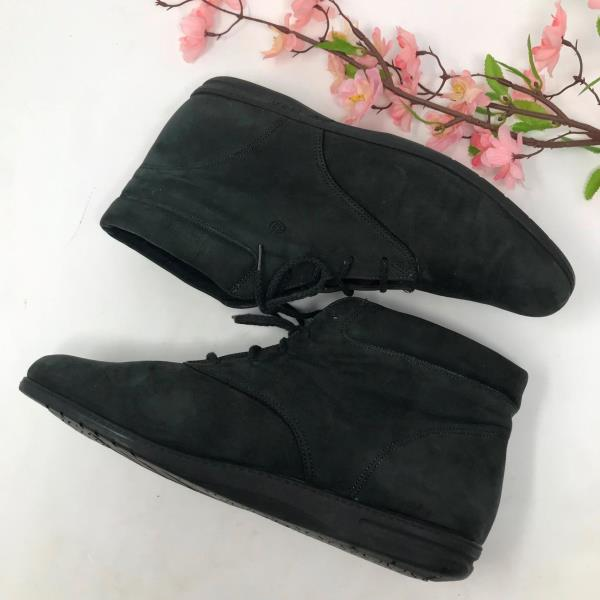 023b03c1b5160 Details about Vintage Womens 80s Dk Gray Leather Lace Up Granny Ankle Boots  Size 9.5 M Booties