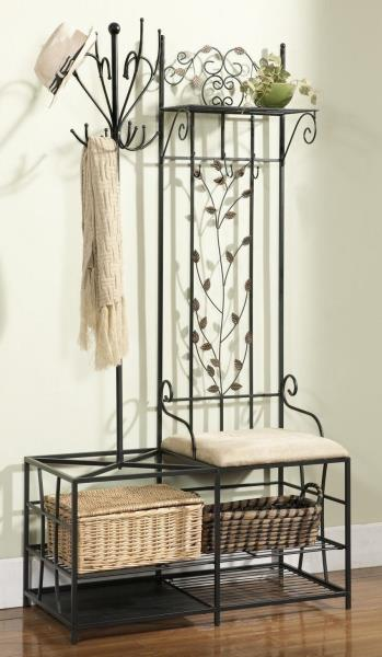 Black Metal Hall Tree Cushion Bench Coat Rack Storage Basket