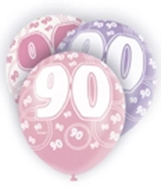 Pink Glitz Age 90 90th Birthday Party Balloons Banner Decorations Choose Required Item 6 X 12 Latex Suitable For Air Or Helium9ft Foil Banner18