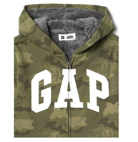 NEW BOYS XS S XL XXL GAP KIDS STAR WARS CAMO LOGO HOODIE W// SHERPA LINING
