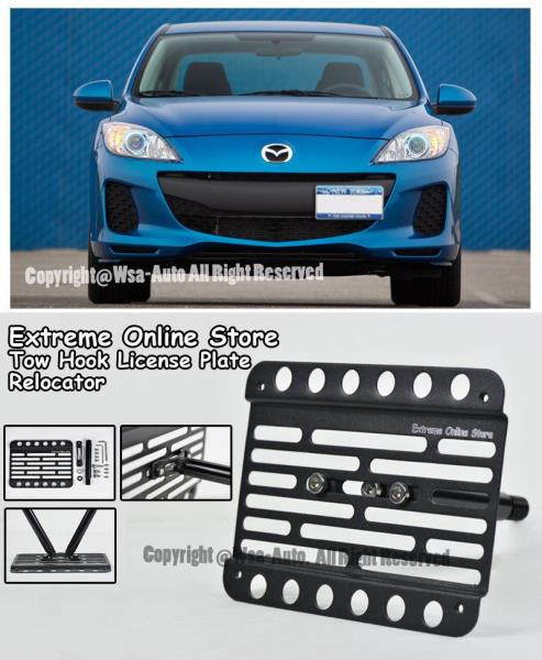 EOS Plate Version 2 Full Sized Front Bumper Tow Hook License Relocator Mount Bracket Extreme Online Store 2010-2013 Mazda 3 Mazda3