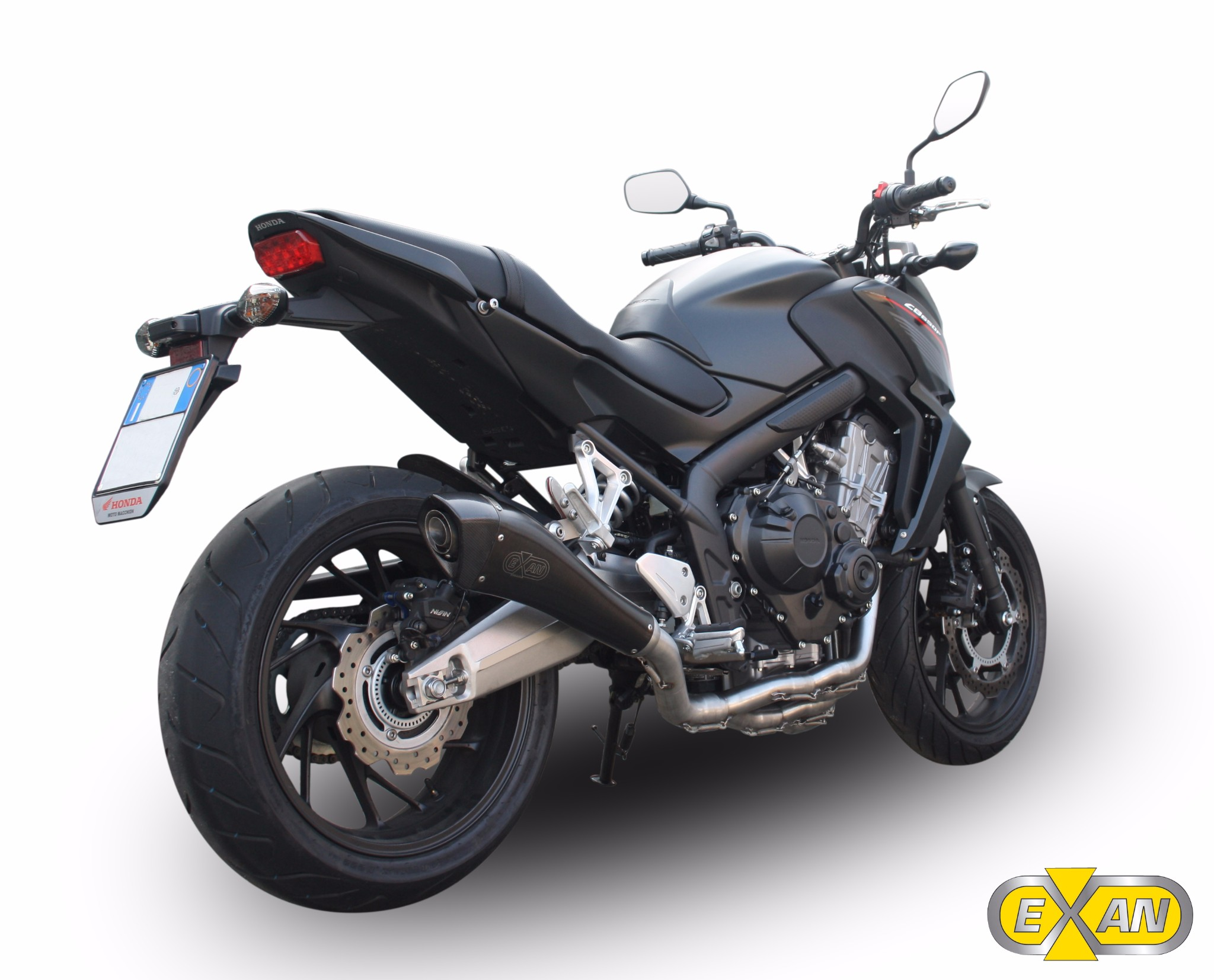 honda cb 650 f 2015 2016 exan x black evo exhaust full system carbon cap new ebay. Black Bedroom Furniture Sets. Home Design Ideas