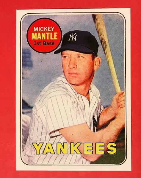 Details About Mickey Mantle 1969 Topps 500 Yellow Letters Reprint Baseball Card Yankees