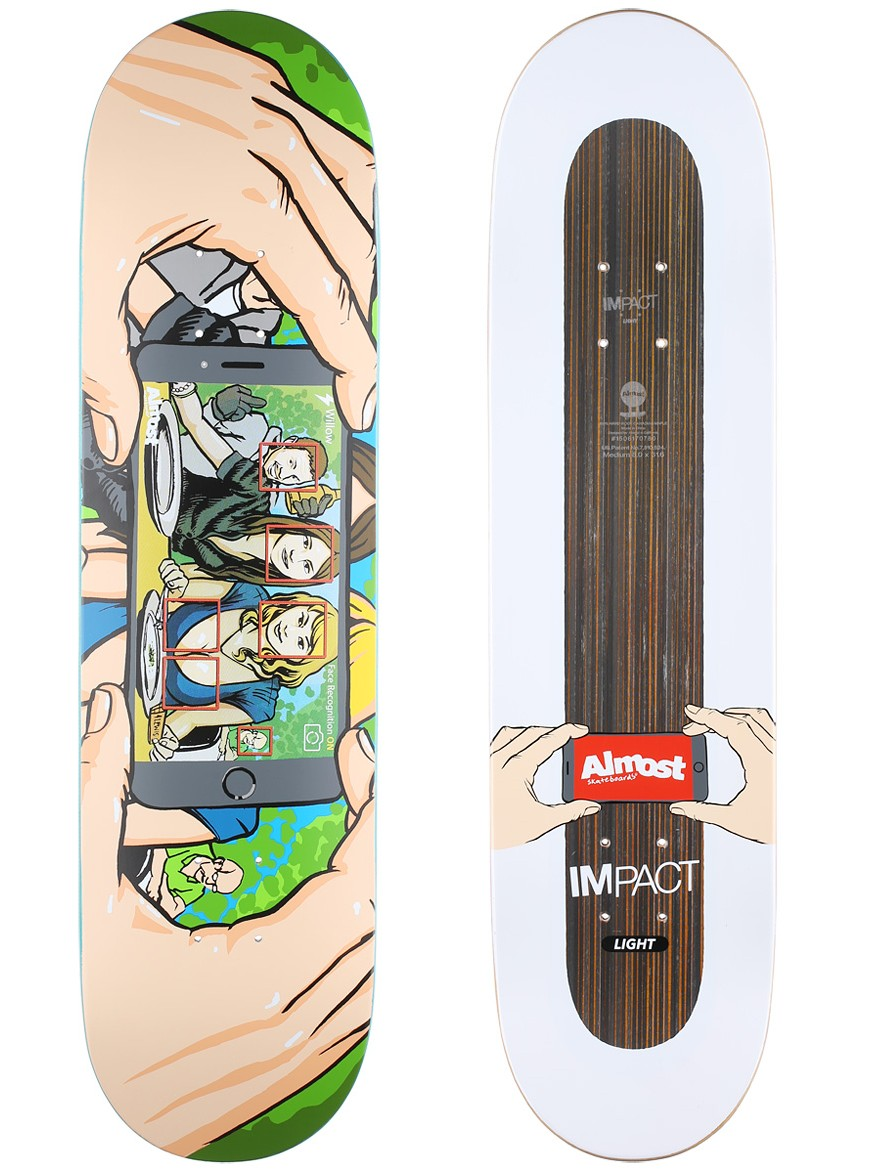 Almost Skateboard Deck Willow Face Recognition IL 8 FREE POST FREE GRIP New Impact Light