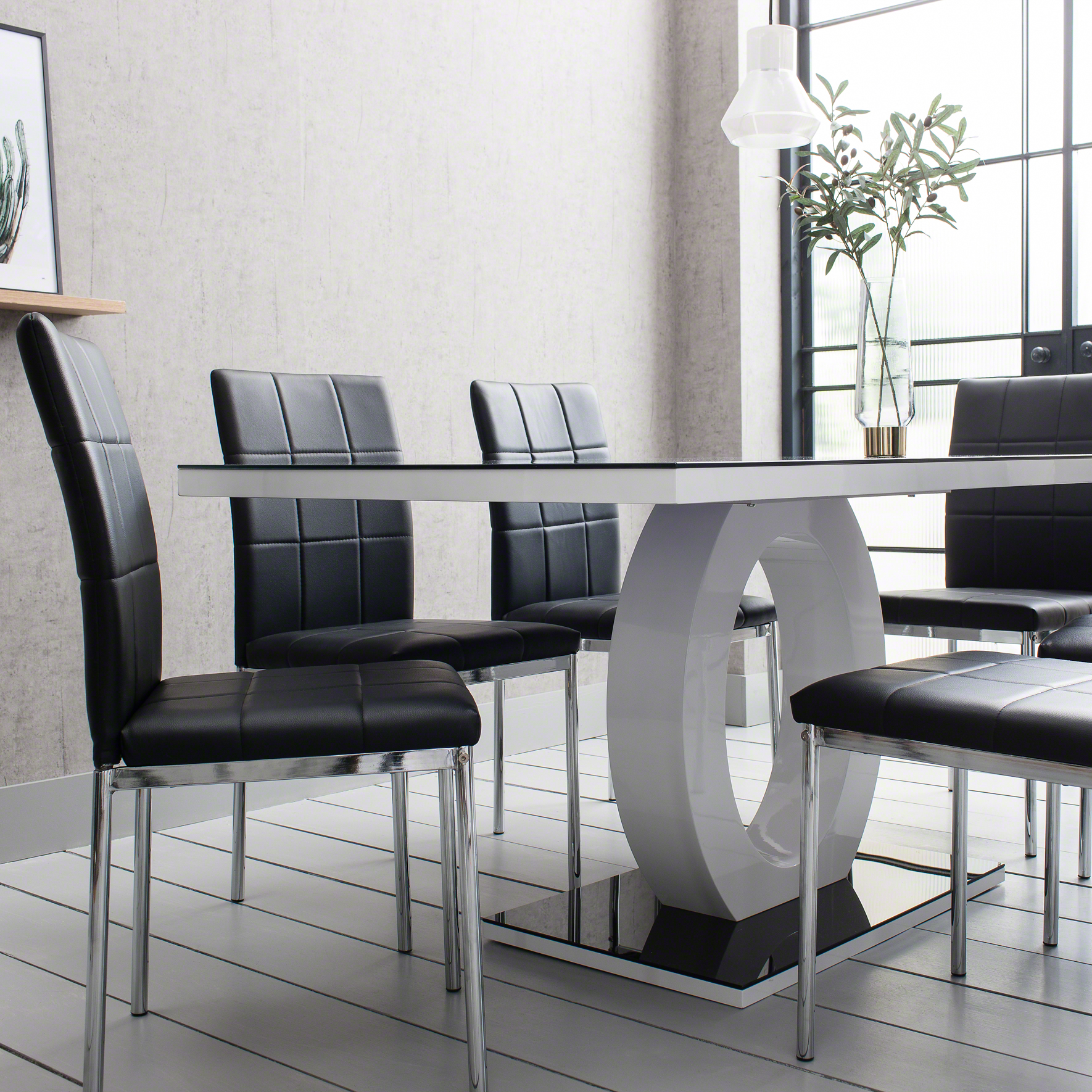 Black Glass Dining Table And 6 Chairs Set 5060498141857 Ebay