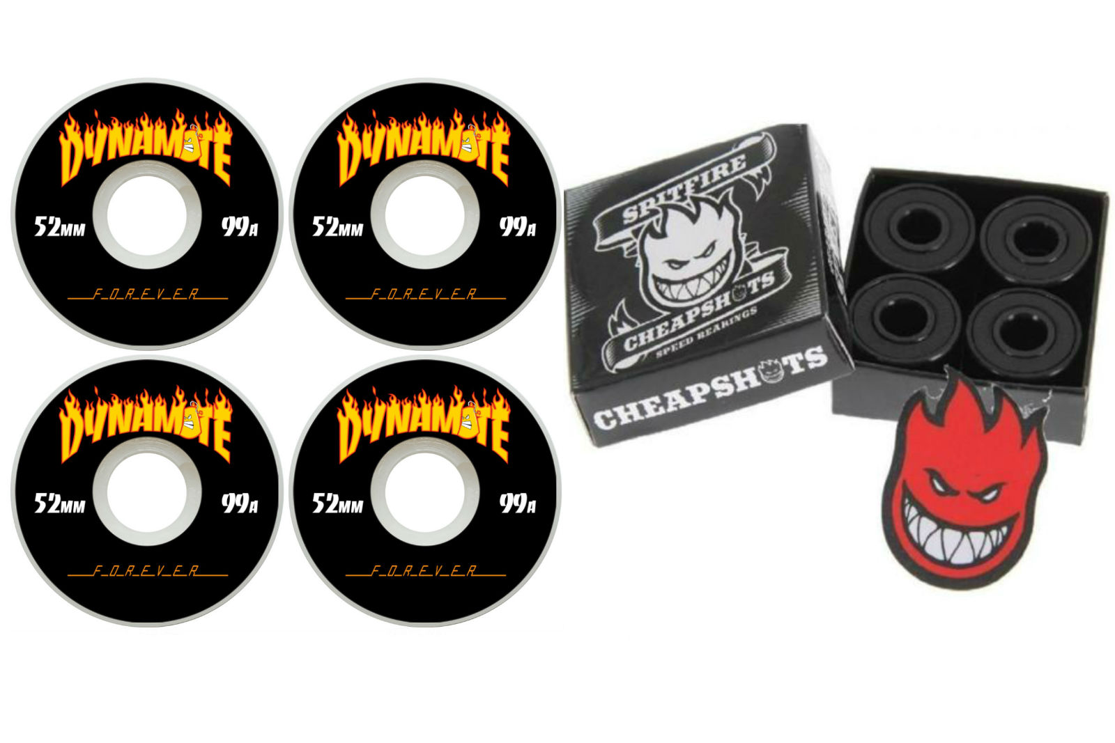 Dynamite Forever 52mm Thrashed Skateboard Wheels + Spitfire Bearings + FREE POST
