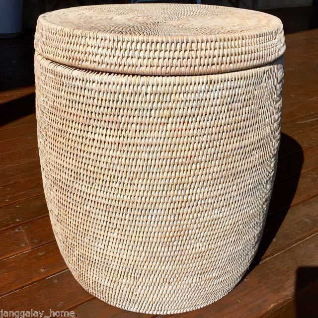 Elegant Rattan Drum Stool Side Table Or Laundry Basket Storage Hamper With  Lid