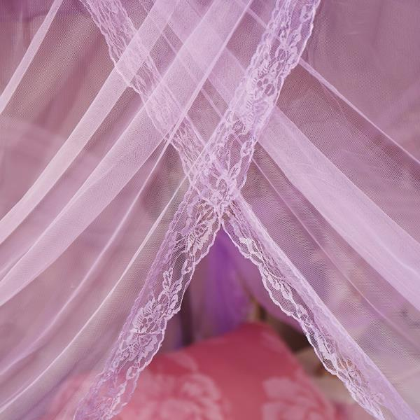 Purple Ruffled 4 Post Bed Canopy Netting Curtains Sheer Panels Corner ANY SIZE & Purple Ruffled 4 Post Bed Canopy Netting Curtains Sheer Panels ...