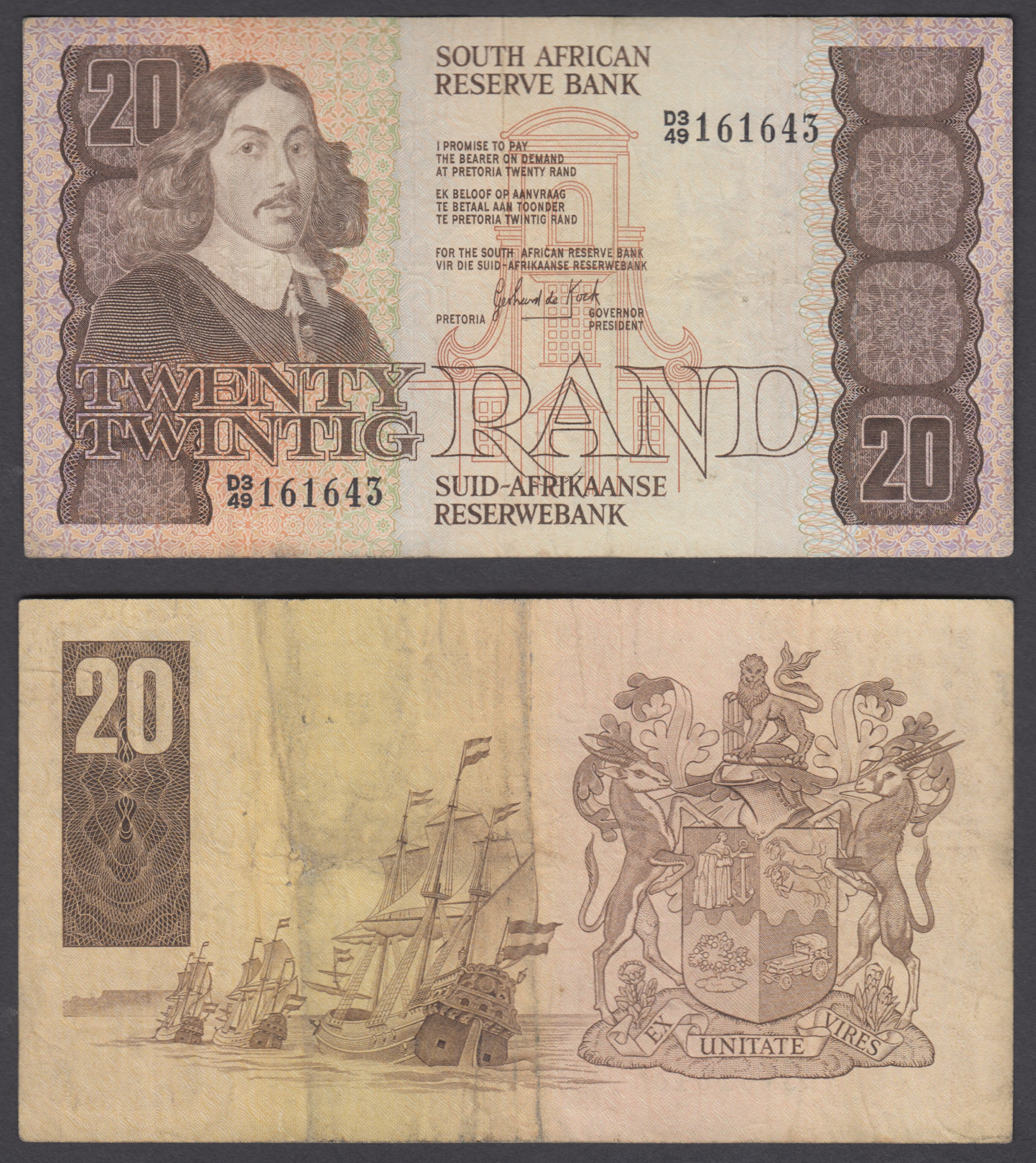 Details about South Africa 20 Rand ND 1982-85 (F-VF) Condition Banknote  P-121c