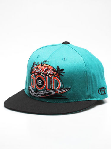 Gold Wheels Cap Fast Life Teal Black Skateboard Snapback