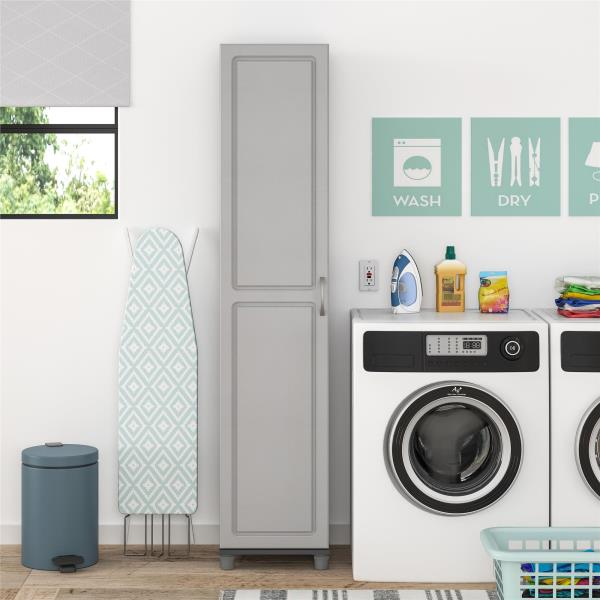 Details About Gray Grey Pantry Storage Cabinet Shelving Laundry Broom  Closet Organizer Utility