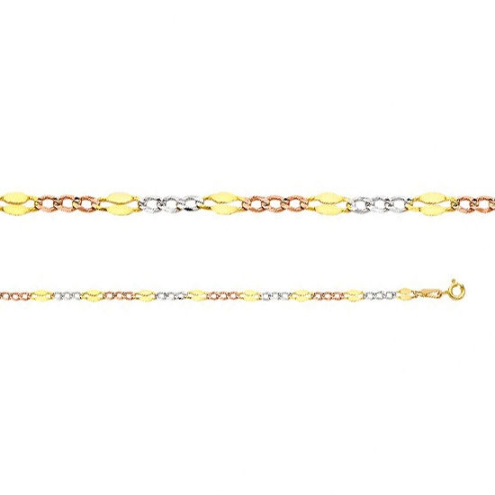 """14K Solid Three Tone Tri-color Gold Stamped Figaro Chain Necklace 3.7mm 18/""""-24/"""""""