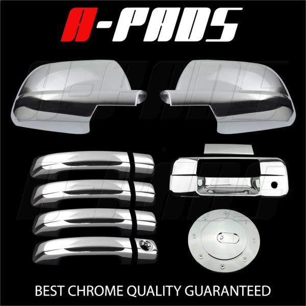 Half Mirror 07-13 TOYOTA Tundra Chrome 2 Door Handle Covers Tailgate+Gas Cover