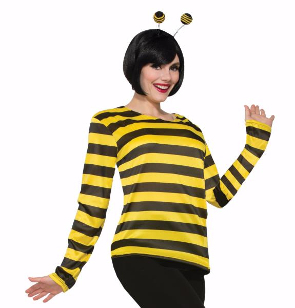 9ac5a454b6 Bee Bumblebee Shirt Adult Mens Womens Black Yellow Striped Costume ...
