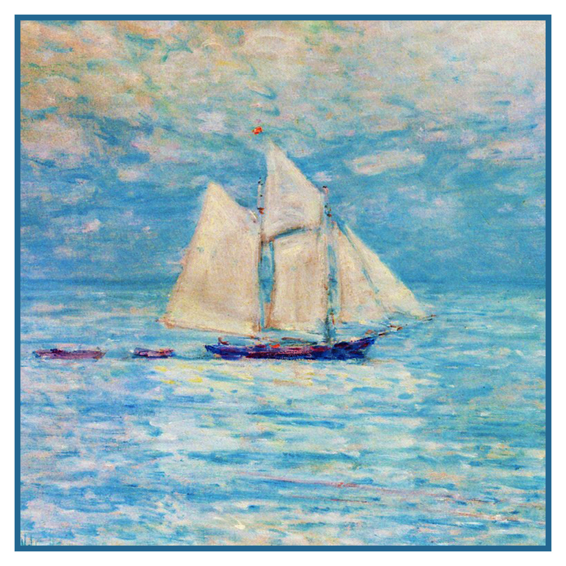 Childe Hassam Sailing Boat Ship at Sea Counted Cross Stitch