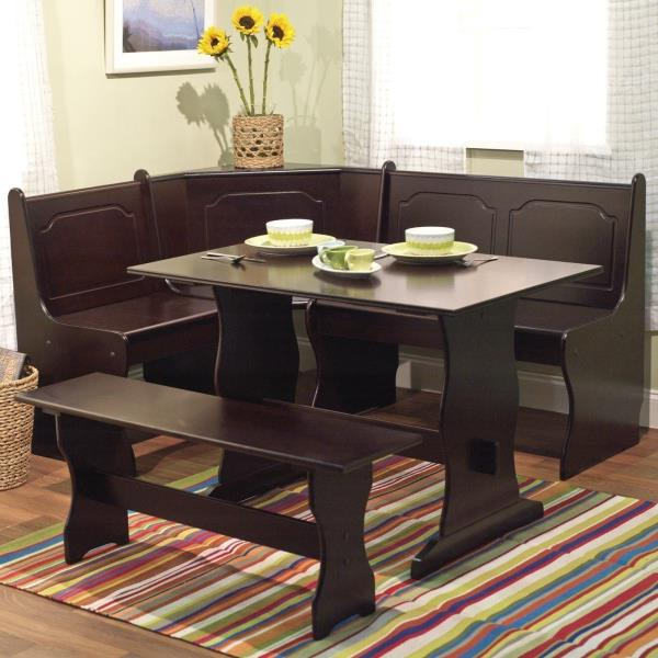 3 Pc Espresso Wooden Breakfast Nook Dining Set Corner