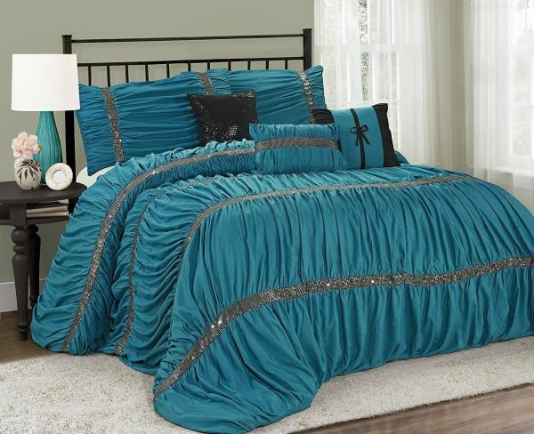Queen Cal King Bed Turquoise Blue Black Sequin Ruched 7 Pc Comforter