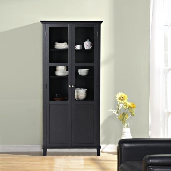 New Black Kitchen Storage Cabinet Shelving Laundry Room Glass Doors