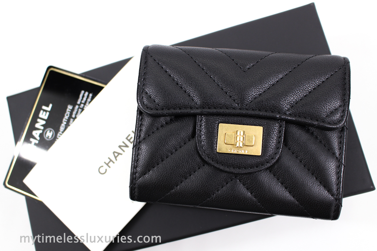 fff464492499 CHANEL 2.55 Reissue Compact Wallet/ Card Holder/ Coin Purse with Mona Lisa  Back Pocket in Black Sheepskin Chevron Quilt, Aged Gold hardware and Bright  Pink ...