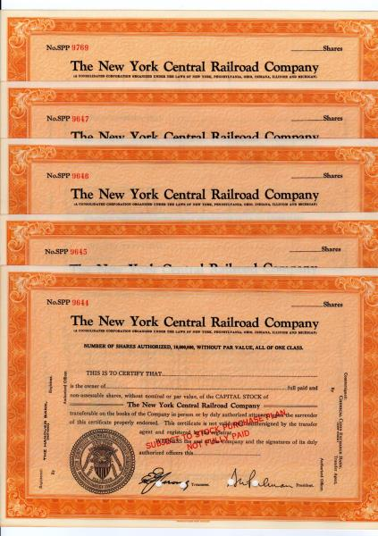 Vanderbilt 1930s New York Central Railroad Company Stock Certificates Lot of 2