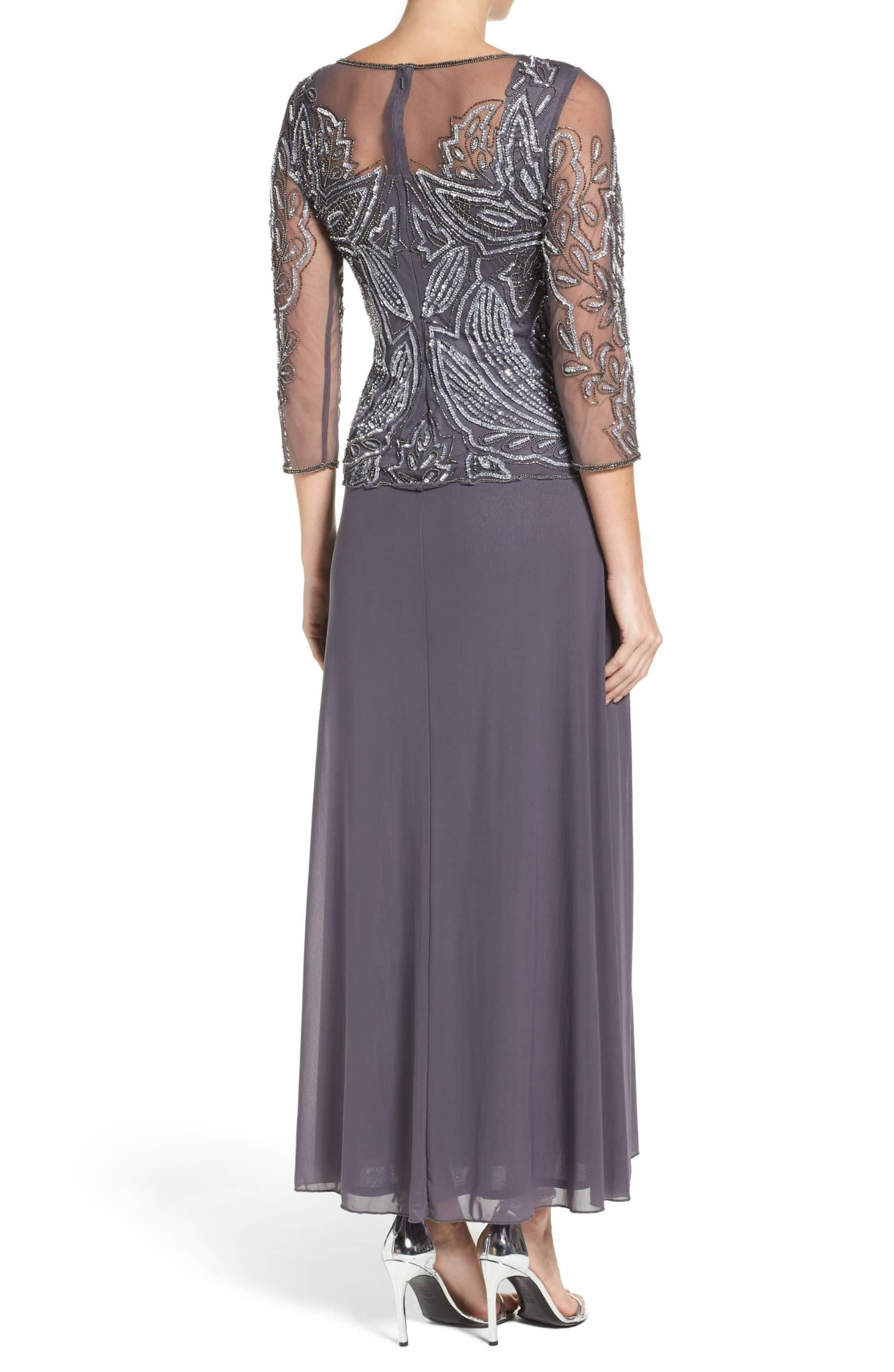 7bfcce57d6b Details about Pisarro Nights Embellished Mesh Gown Sz 4 slate