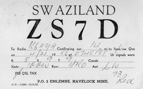 Image result for ham radio swaziland qsl card