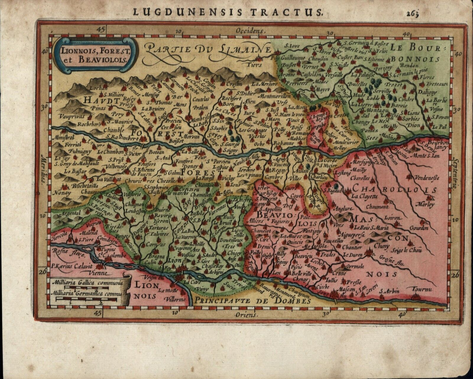 Map Of France Cities And Towns.Lyon Lionnois Forest France Cities Towns C 1628 Mercator Minor Old