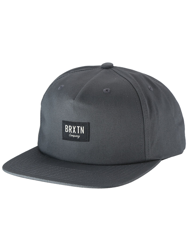 Brixton Cap Hoover Snapback Charcoal Unstructured 5 Panel Skateboard Hat