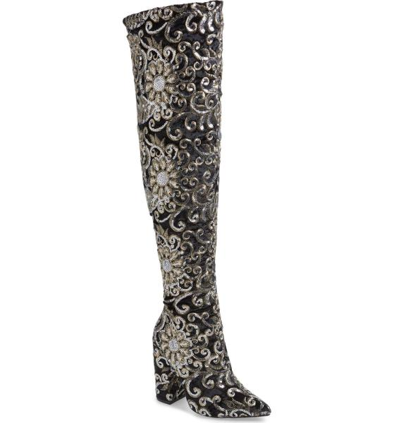 3156ae8eed9 Details about Lauren Lorraine Renni Embellished Over the Knee Boot Black  Emroidered Boots