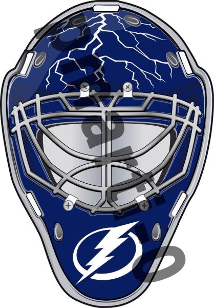 the latest ad22f 3d0c8 Details about Tampa Bay Lightning Front Goalie Mask Vinyl Decal / Sticker 5  Sizes!!!