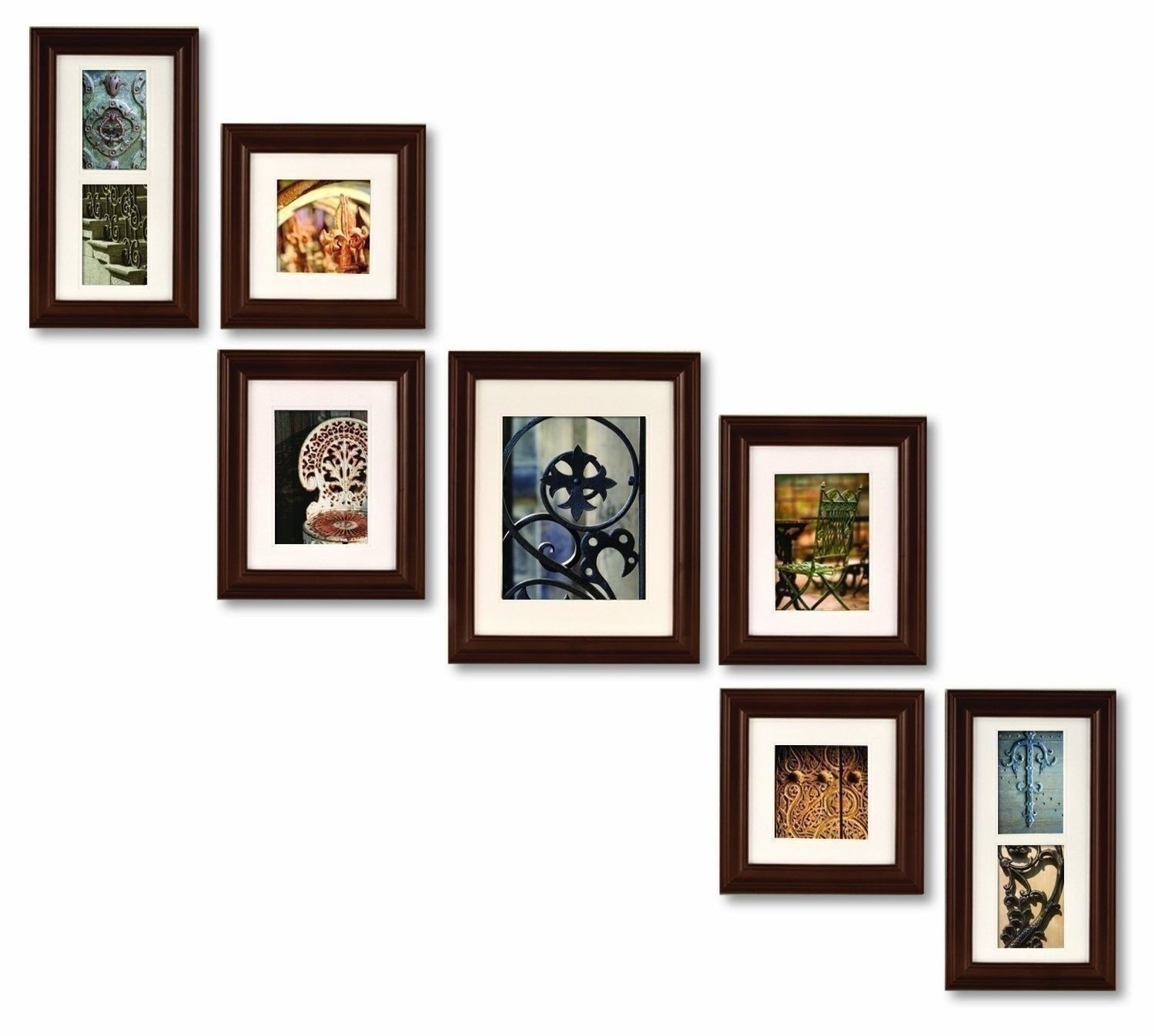 wall frames set new set 7 brown wood picture photo frames frame staircase stairs - Wood Picture Frame Set