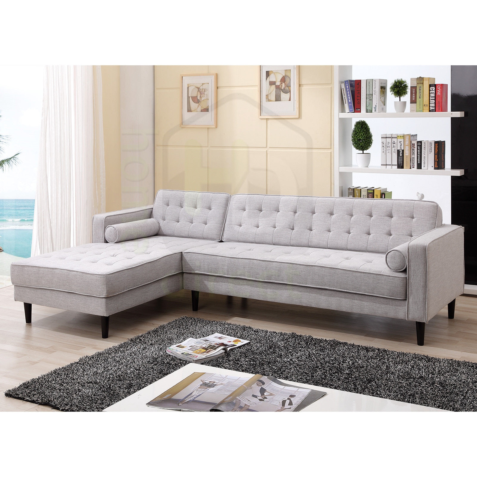 Details about aiden scandinavian sofa with chaise left