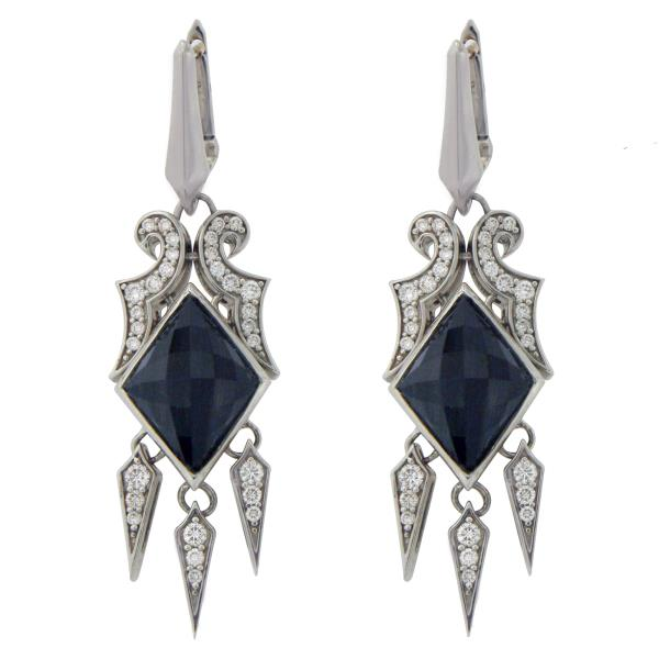 Luxo Jewelry News Letter - High Quality Premium Jewelry - Stephen Webster 925 Silver 14K Gold Post Cats Eye Crystal & Diamonds Earrings