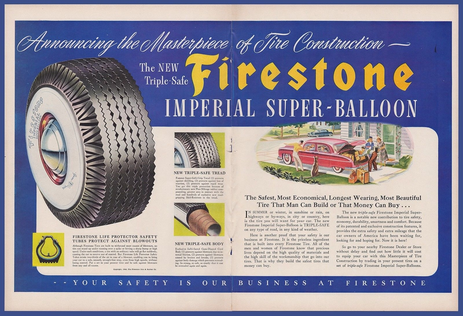 Vintage 1949 FIRESTONE Imperial Super-Balloon Tires Car Garage Print ...