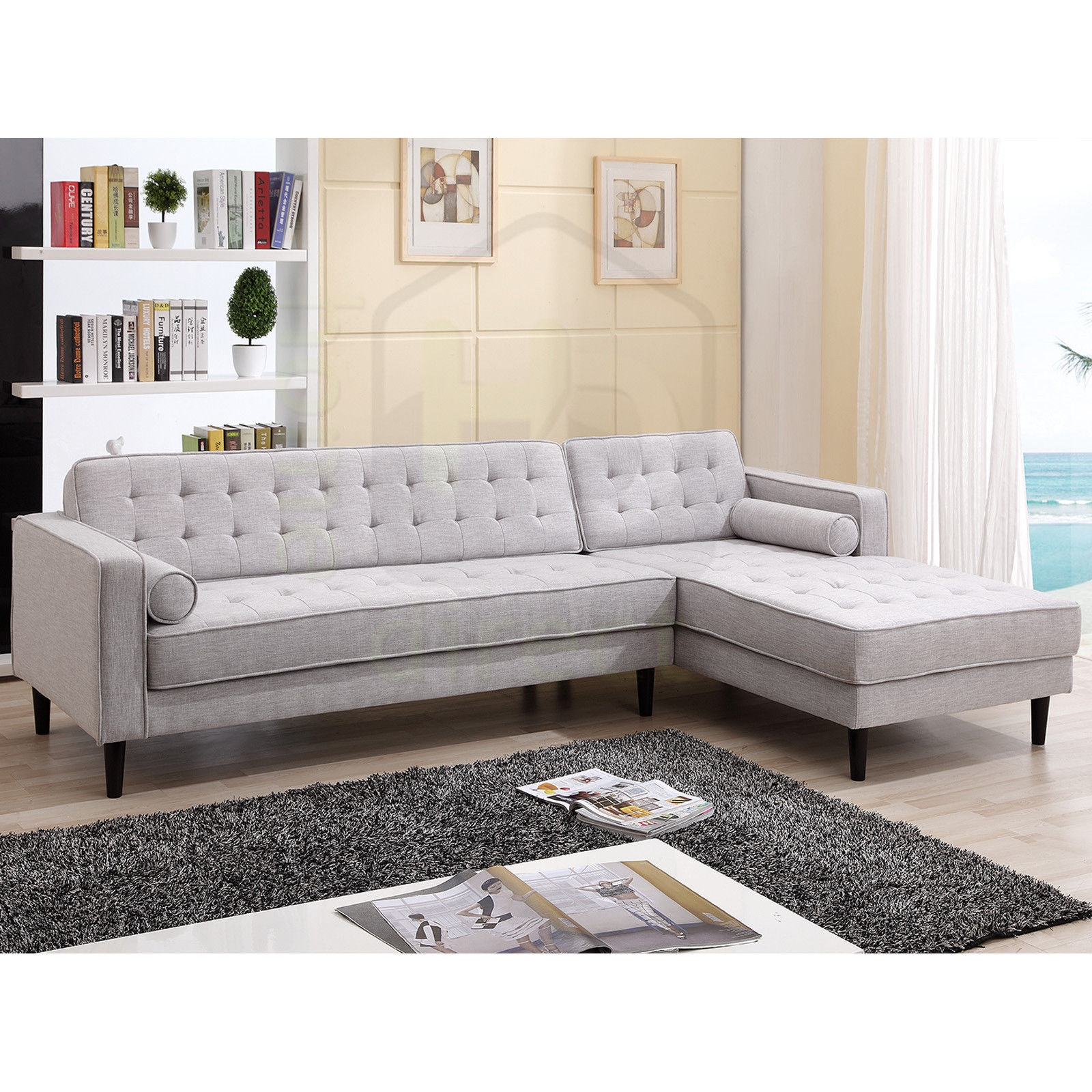 Fabric L Shape Scandinavian Retro Danish Modern Lounge Suite Sofa