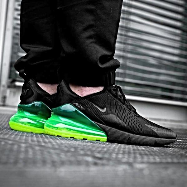 New Nike Air Max 270 Black Volt Green Men's Size 10 Running Sneakers AH8050 013