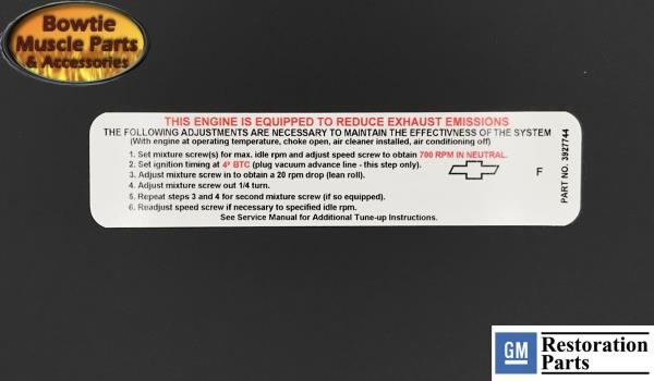 1968 CHEVROLET 307 MANUAL TRANS ENGINE EMISSIONS DECAL