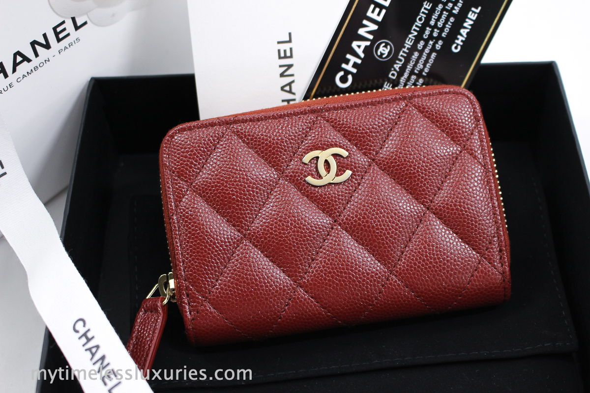 1bcb21904213 CHANEL 18C Iridescent Dk Red/ Burgundy Caviar Zip Coin Purse/ Card Holder  with Aged Gold Hw.