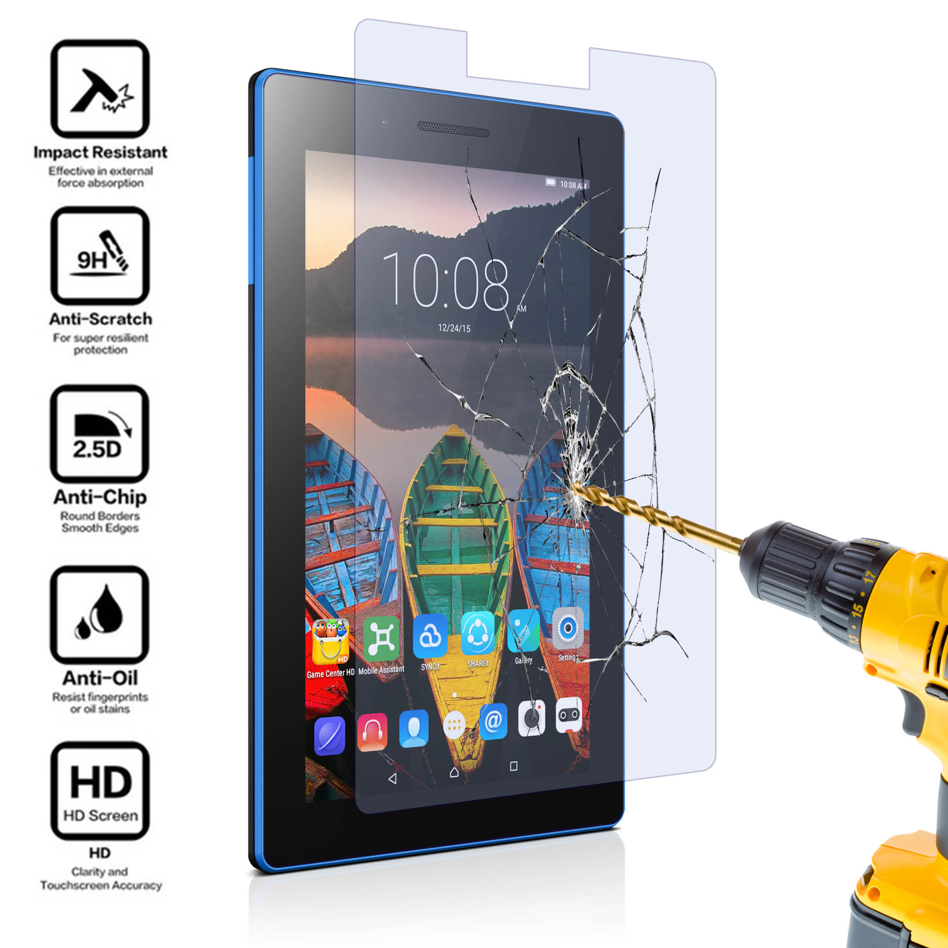 "gard® Tempered Glass Screen Protector for 7"" Tablet Lenovo Tab 3 7  Essential 