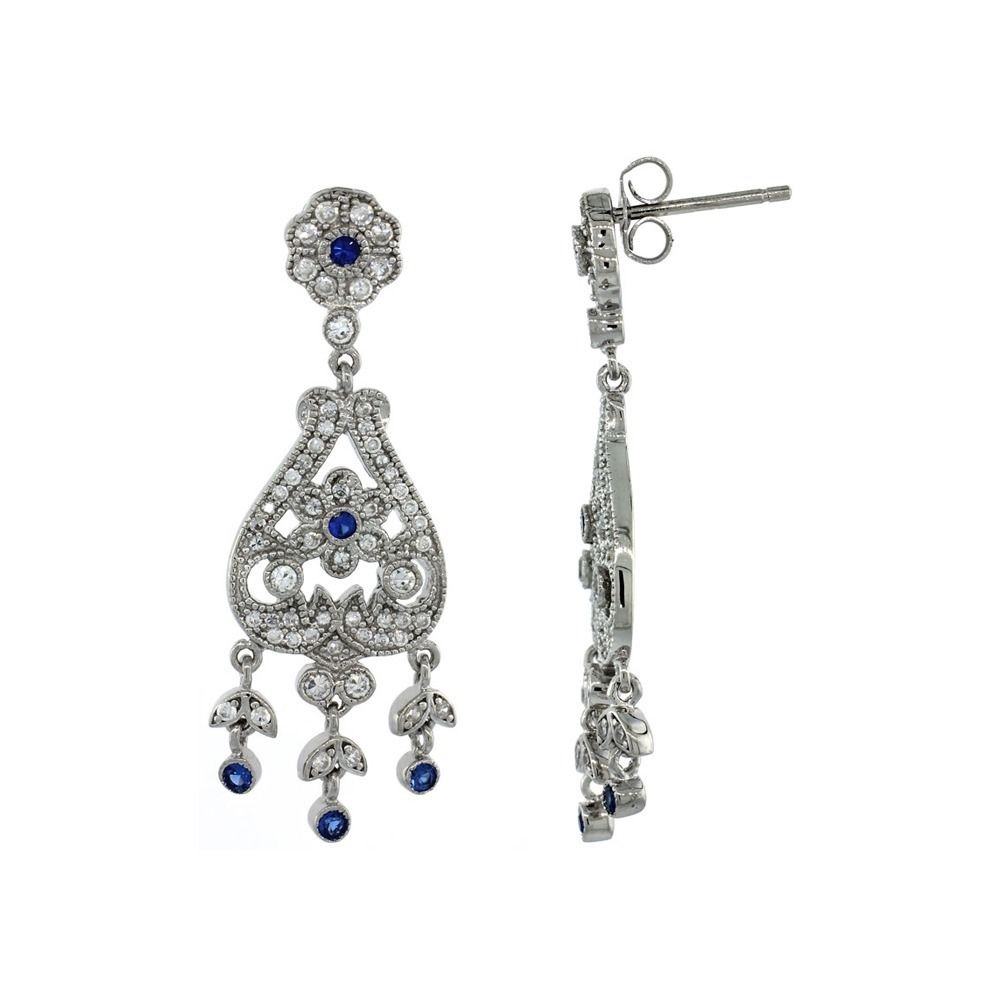 Brilliant Embers 925 Sterling Silver Rhodium-plated Black /& White CZ Ovals Dangle Post Earrings