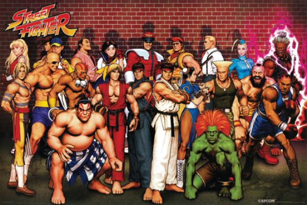 Street Fighter Characters 24x36 Poster Capcom Ryu Ken Video Game