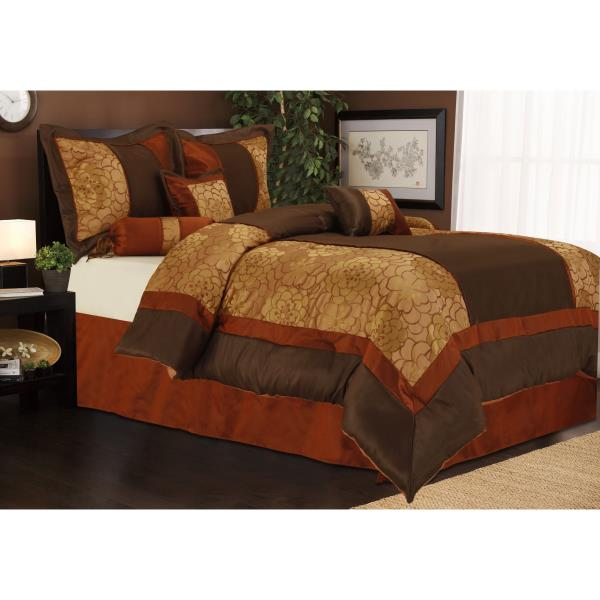 Boys Brown And Orange Bedding: Full Queen Cal King Brown Rust Orange Floral Stripe 7 Pc